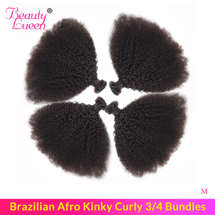 Short Tight Afro Kinky Curly Hair Bundles Brazilian Hair Weave 3/4 Bundles Non-Remy Human Hair Extensions For American African