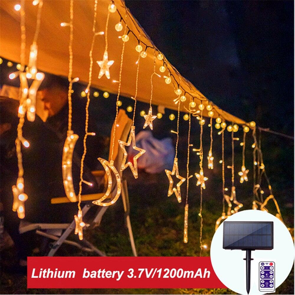 123LED Curtain Light Solar Light Fairy Moon Star String Light Remote Waterproof 1200mAh Decorate Christmas Party Garden Light