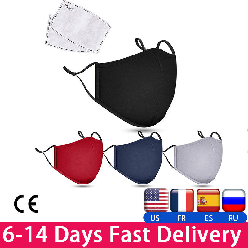 Washable Face Mask With 2pcs Filter Activated Carbon PM 2.5 Mask Filter Protective Mask PK KN95 N95 Mask Ffp3 Mask Dustproof