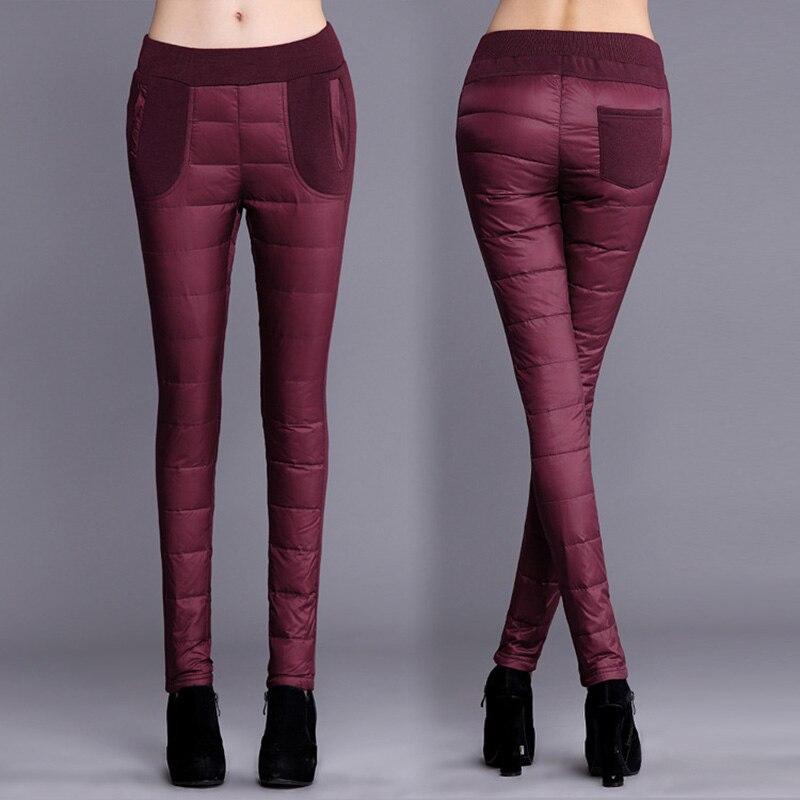 Winter Women Pants Double-sided Down Pants Trousers Thicker Women Wear High-waist Pencil Pants Windproof Warm Winter Trousers