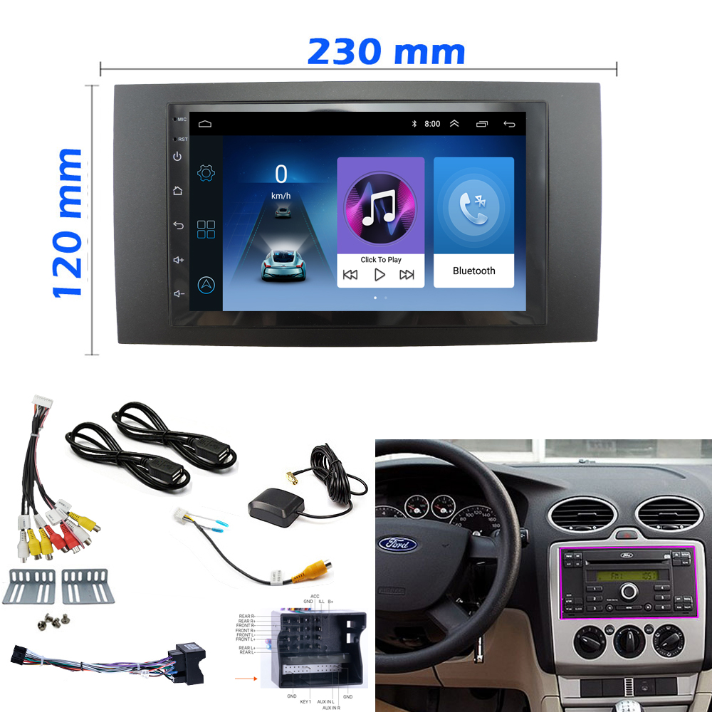 Android 8.1 car Multimedia radio player For Ford Focus 2 Din frame to Car Radio for C-Max S-Max Fusion Transit Fiesta use(China)