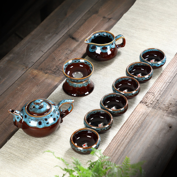 Portable Ceramic Chinese Kung Fu Tea Set Creative Household Office 10pcs Tea Set Chinese Tea Ceremony Hot Sale Gift MM60CJ