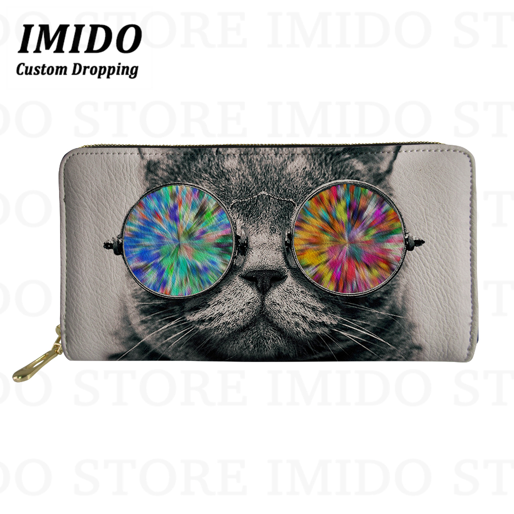 IMIDO 3D Printing Animal Woman Wallet Cool Sunglasses Cats Print Kawaii Purse Female Leather Personalized Wallet Carteras 2019