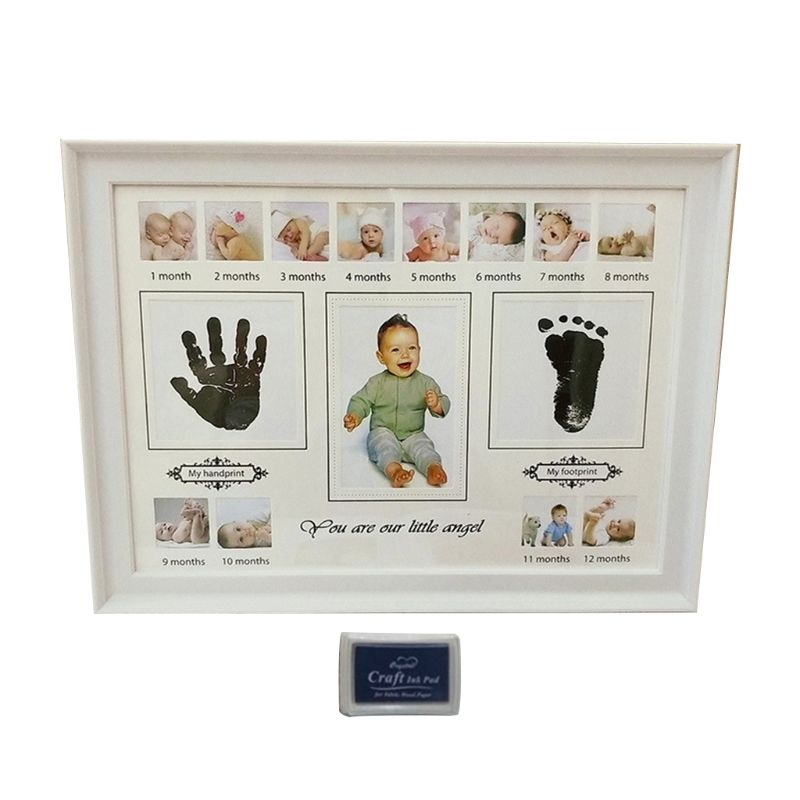 Baby Handprint Footprint Photo Frame With Stamp Ink Newborn Decor Gift Kids Imprint Hand Inkpad Souvenirs 72XC