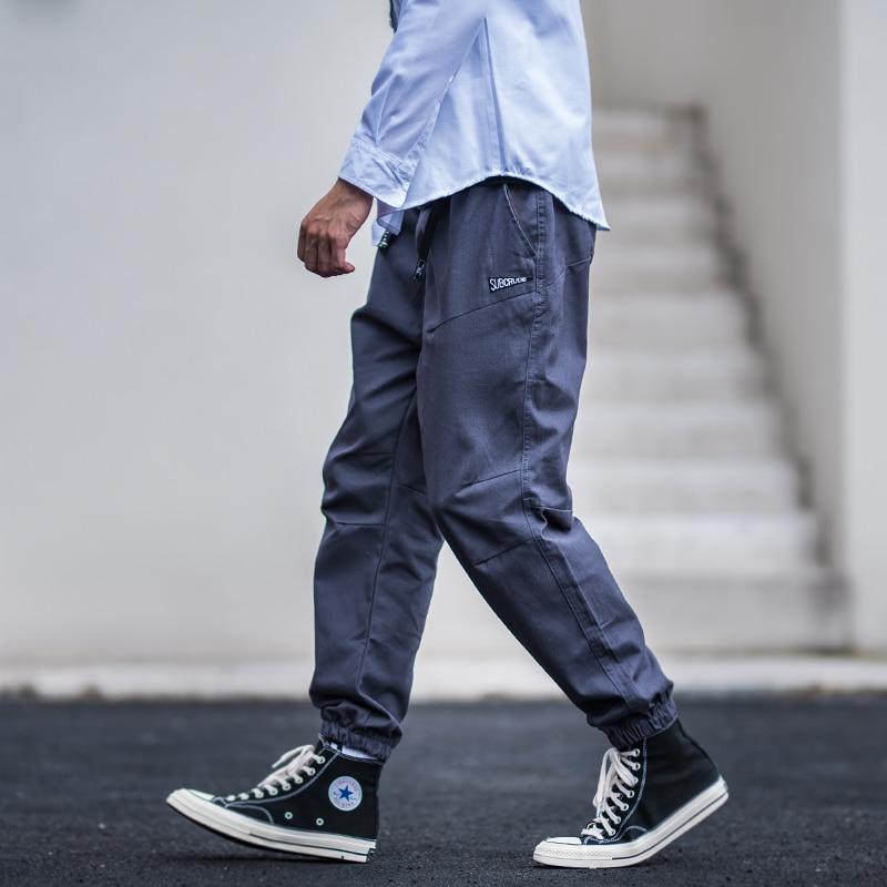 Japanese Style Fashion Men Jeans Khaki Loose Fit Slack Bottom Cargo Pants Harem Trousers Streetwear Hip Hop Pants Men Joggers