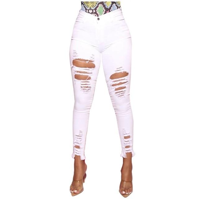 Pantalones vaqueros rasgados elásticos para mujer, Vaqueros ajustados con agujeros, pantalones de pitillo con rodilla rota, informales, color blanco y negro, nuevos 4