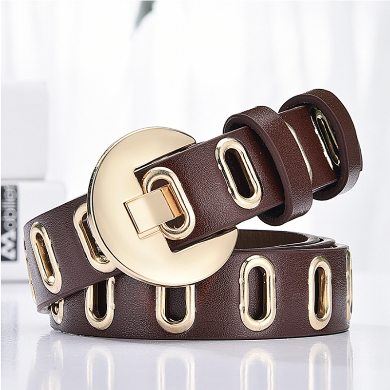 Leather Belt Luxury Brand Fashion Punk Brown Belts For Women  Jeans Gold Ladies Designer High Quality Ceinture Enfant Student