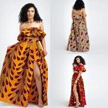 2020 kadın afrika Dashiki elastik sonbahar kış yaz Maxi plaj elbisesi çiçek baskı yüksek bel pileli kat uzunluk uzun etek