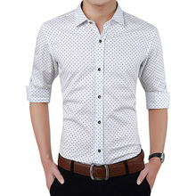 Male 2019 New Autumn Fashion Brand Oversized Clothes Slim Fit Men Shirt  Long Sleeve Men Polka Dot Casual Social business Shirt polka dot long sleeve casual shirt