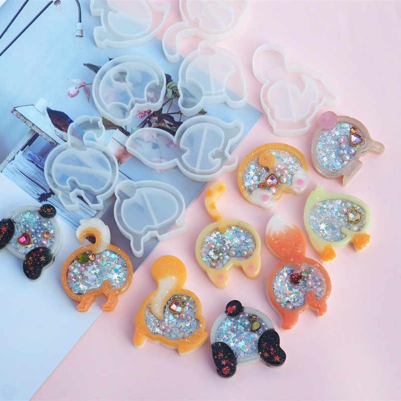Strawberry Jelas Cetakan Silikon Resin Es Bintang Shaker Gantungan Kunci Pesona Mengkilap Cetakan DIY Baking Alat Membuat Perhiasan, 10Yc8821