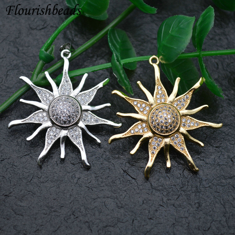 Luxury Sun Shape Pave CZ Zircon Beads Pendant Necklace DIY Parts Jewelry Makings Accessories 10pcs Gold / Rhodium Color