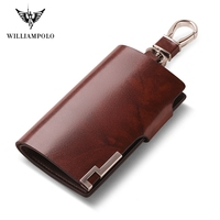 WILLIAMPOLO Fashion Cow Leather Pillow 6 Rings Key Holder Unisex Solid Wallet PL176112