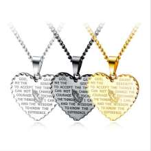 Men Titanium Steel Heart-shaped Biblical Texts Pendant Necklace so204