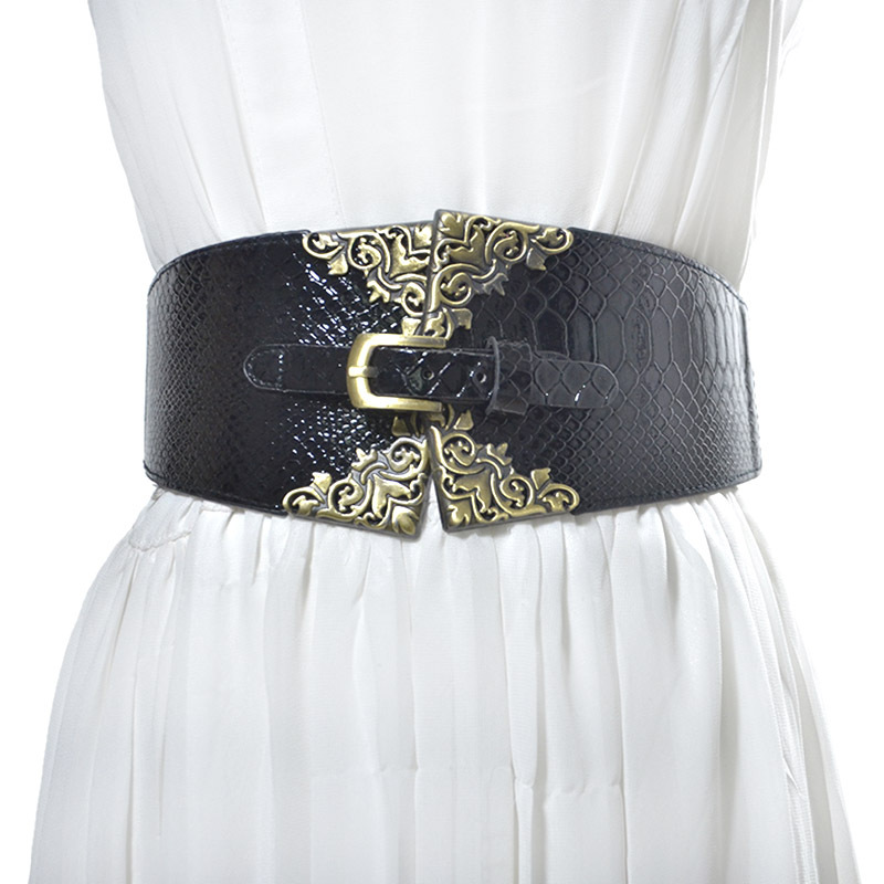 New Vintage Buckle Design Elastic Waistband Women Wide Belt Cummerbund Fashion Belts Decoration Gifts VKAC1014