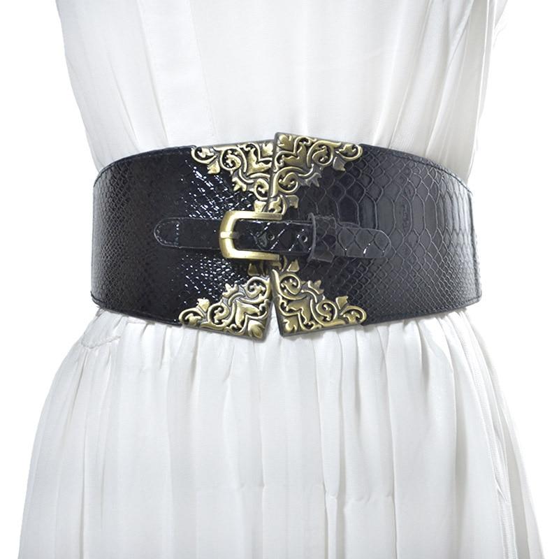 New Vintage Buckle Design Elastic Waistband Women Wide Belt Cummerbund Fashion Belts Decoration Gifts VKAC1014