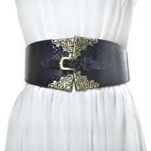 New vintage buckle design elastic Waistband Women wide belt cummerbund