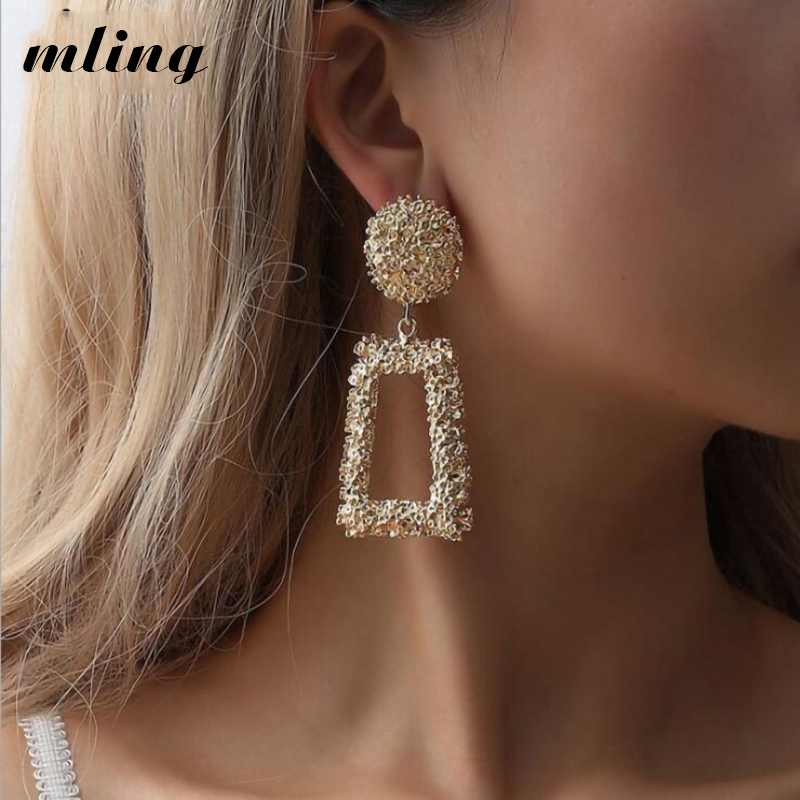 Ladies Gold Geometric Big Vintage Earrings Statement 2018 Metal Hanging Fashion Jewelry Trendy