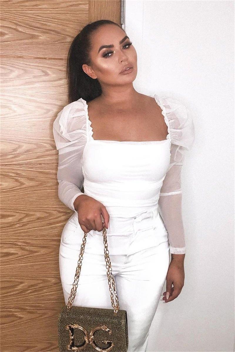 2019 модная женская рубашка из прозрачной сетки, с рюшами, с длинным рукавом, квадратная горловина, облегающие блузы, офисные женские блузки, р...