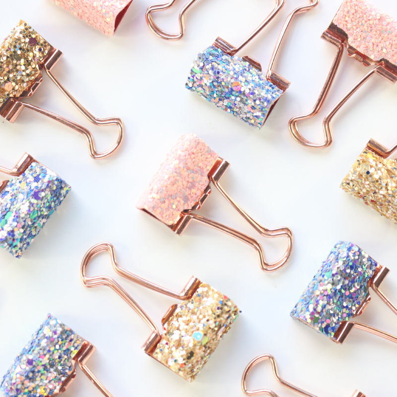 Domikee cute kawaii sequins metal office school binder clip set candy rose pink student paper document organizer clip stationery