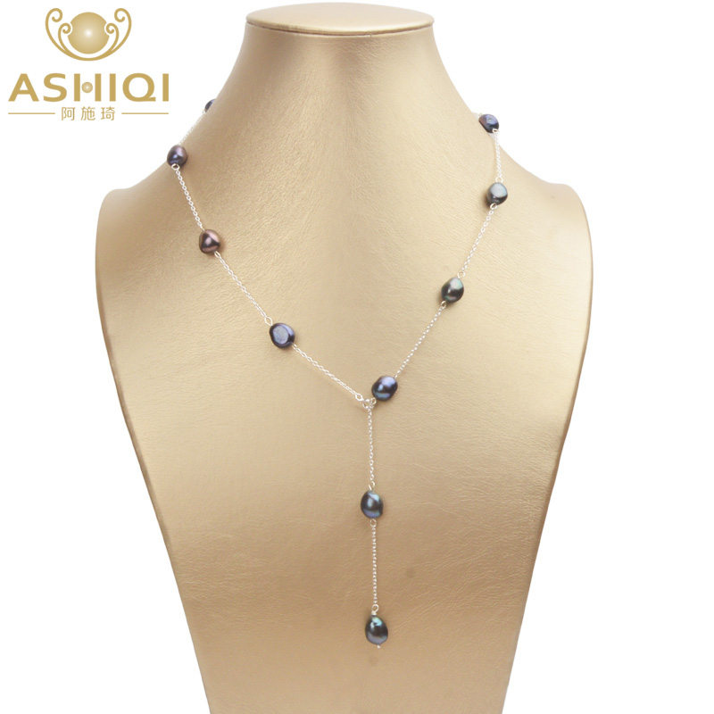 ASHIQI Real 925 Sterling Silver Freshwater Pearl Necklace 8-9mm Natural Baroque Pearl For Women Vintage Handmade Jewelry Gift