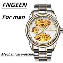 FNGEEN luksusowe zegarki męskie samonakręcający zegarek Tourbillon data wysokiej jakości wodoodporne automatyczne zegarki mechaniczne Hodinky tanie tanio Hbibi 3Bar CN (pochodzenie) Składane zapięcie z bezpieczeństwem Limitowana edycja Automatyczne self-wiatr 25inch ALLOY