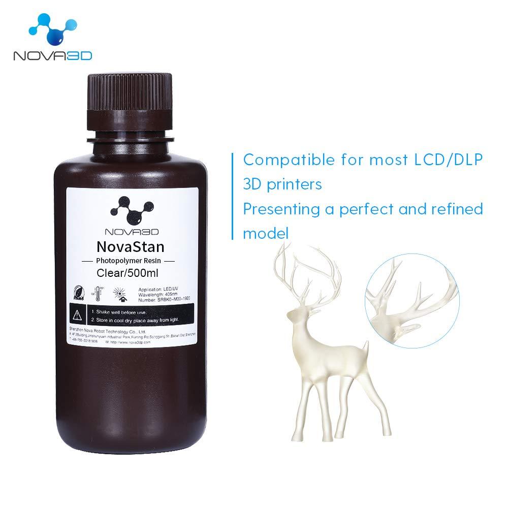 NOVA3D высокая прозрачность смолы 3d Принтер LCD УФ-отверждения смолы 405nm ультра-прозрачные стандартные смолы 1000 г Фотополимерная смола
