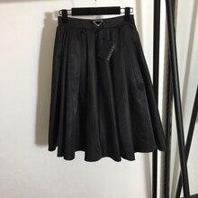 Tutu-Skirt Triangle Spring Pleated High-Waist Women Summer Luxury Logo And Black