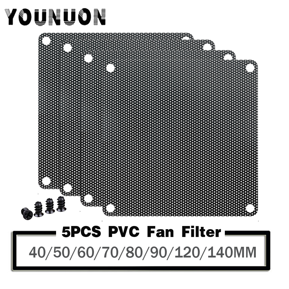 5Pcs 4cm 5cm 6cm 8cm 9cm 12cm 14cm Computer Mesh PVC PC Fan Dust Filter Dustproof Case Computer Mesh Cover Chassis Dust Cover