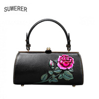 SUWERER high quality fashion luxury brand 2020 new retro female handbag genuine leather bag counter genuine, female well known b