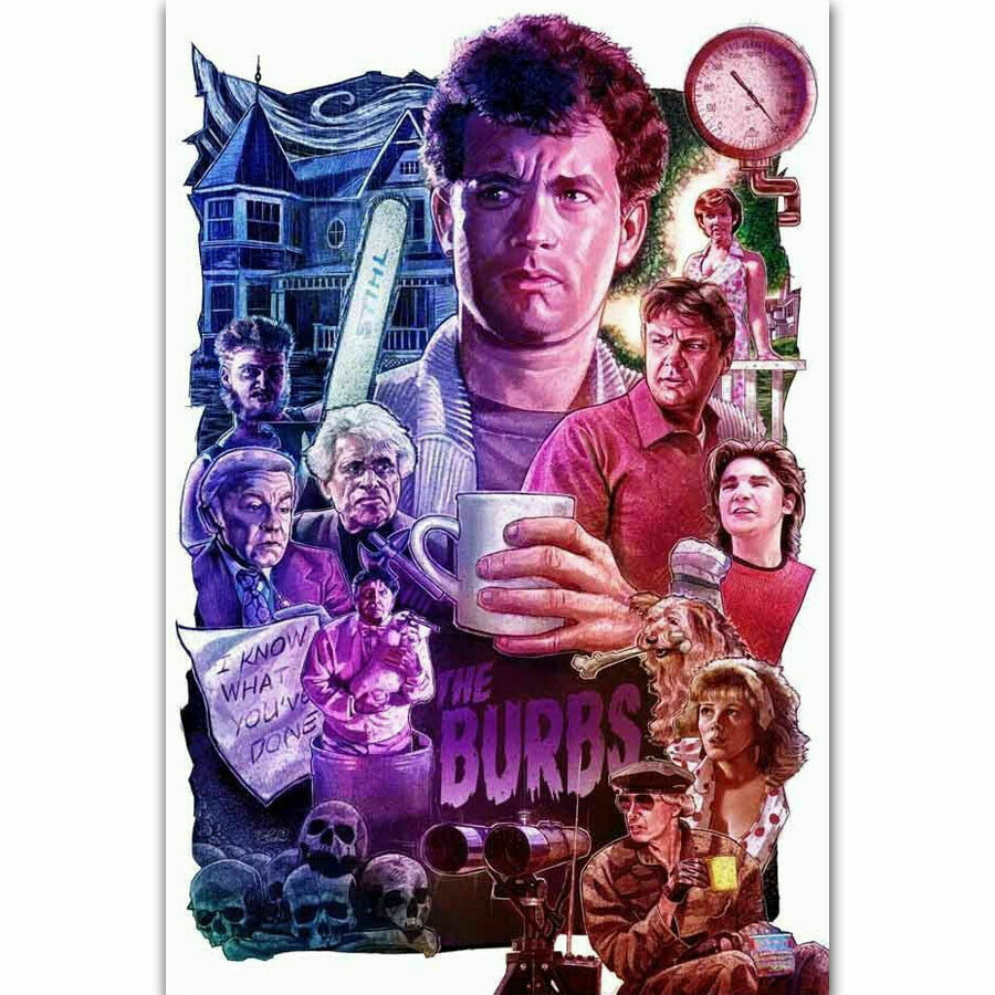 The Burbs 1989 Tom Hanks Classic Movie Vintage Silk Fabric Wall Poster Art Decor Sticker Bright image
