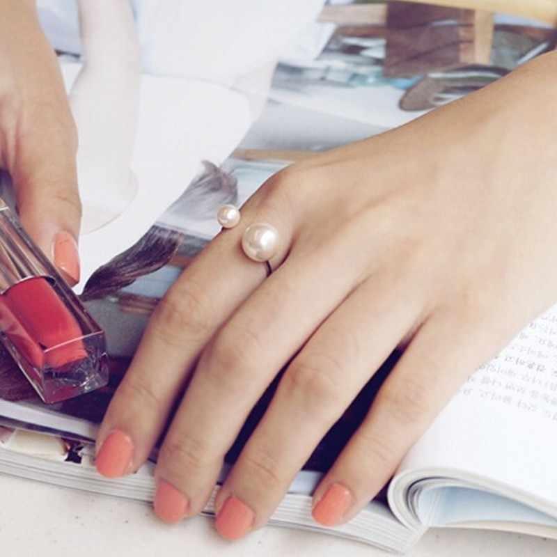 U-shaped เปิดแหวนแหวนฝังเลียนแบบไข่มุกแหวนผู้หญิงแหวนนิ้วปรับได้