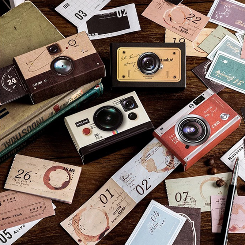 62Pcs/set Time Machine Writing-on Sticker Scrapbooking Vintage Diary DIY Journal Decorative Adhesive Sticker Tape Stationery