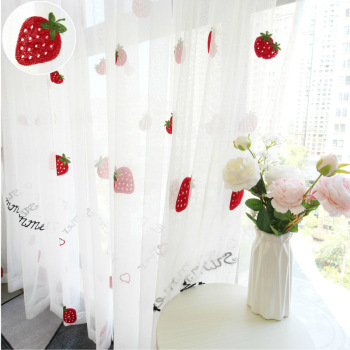 Cute Strawberry tulle curtains for girl kids room curtains living room  bedroom window white embroidered sheer princess style 100% cotton curtains elegant white lace curtains sheer tulles for girl s room window door sheet screen home decor