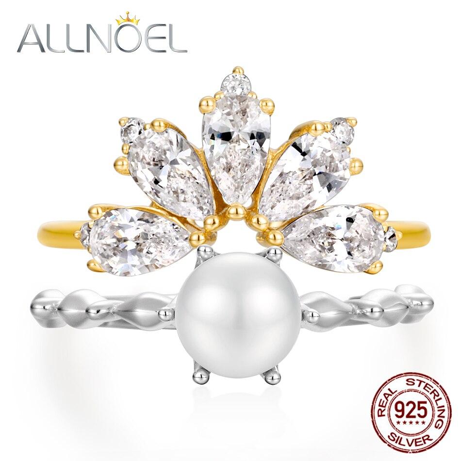 ALLNOEL 925 Sterling Silver Rings 5A Zircon Diamond Gemstone Real Pearl Stackable Rings  Women Wedding Bridal Sets Fine Jewelry