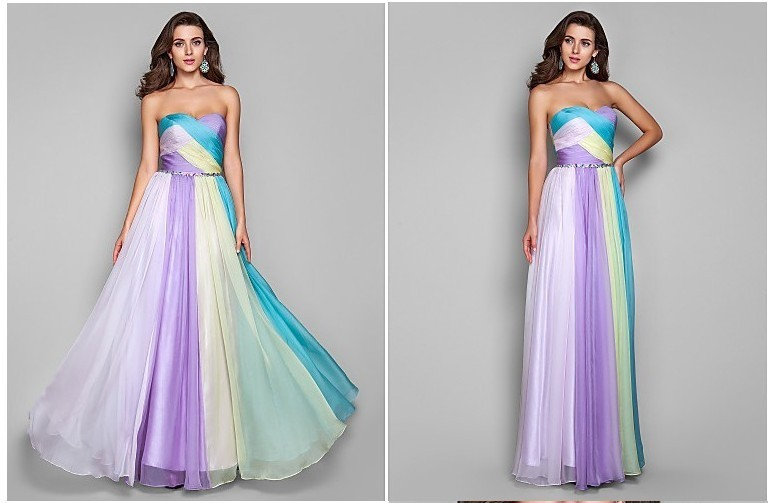Vestido De Festa Longo Hot Sexy Sweetheart Long Chiffon Colorful 2018 Robe De Soiree Formal Prom Gown Bridesmaid Dresses