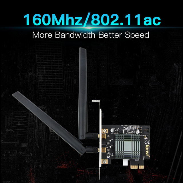 Dual Band 2100Mbps Desktop Wireless PCI-E WiFi 9260NGW Bluetooth 5.0 Adapter 802.11ac 2.4G/5G MU-MIMO For Windows 10 6DB antenna