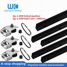 5 adet 1.25 mod sarmal raf uzunluğu 1400mm + 3 adet nema34 eğik kısa dişli kutusu + zamanlama kemeri HTD 550M + dişli delik 12.7mm/14mm