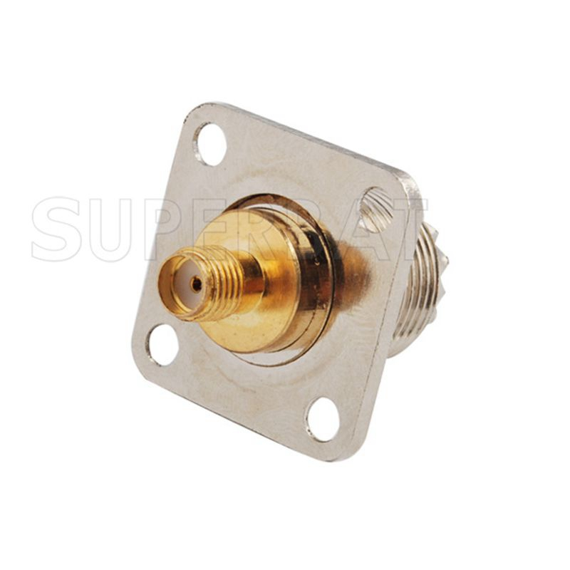 Superbat 5 Pcs SMA-UHF Adapter SMA Jack To UHF Female Jack Panel Mount Straight RF Adapter