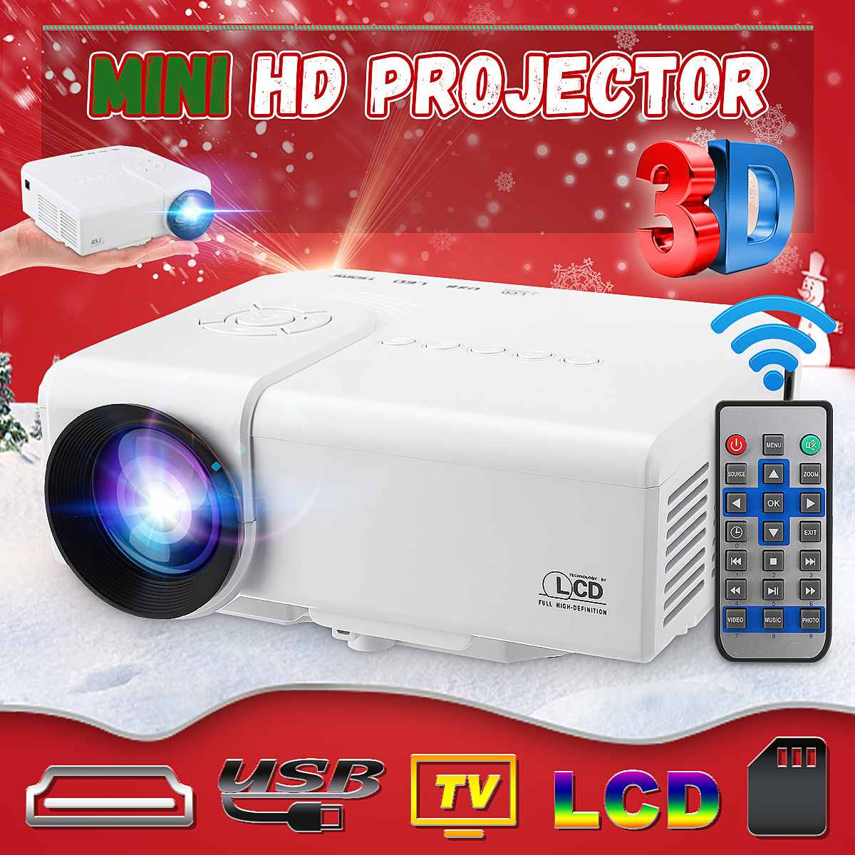 HD Mini Proyector portátil nativa de 480x320P Proyector wi-fi LED Video casa cine 3D HDMI juego de la película Proyector