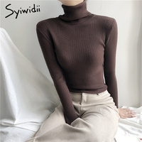 Stretch Rollkragen Pullover Frauen Pullover Neue Kleidung Frauen Mode 2021 Frühling Solide Pullover Stricken Koreanische Top Gestreiften Hemd
