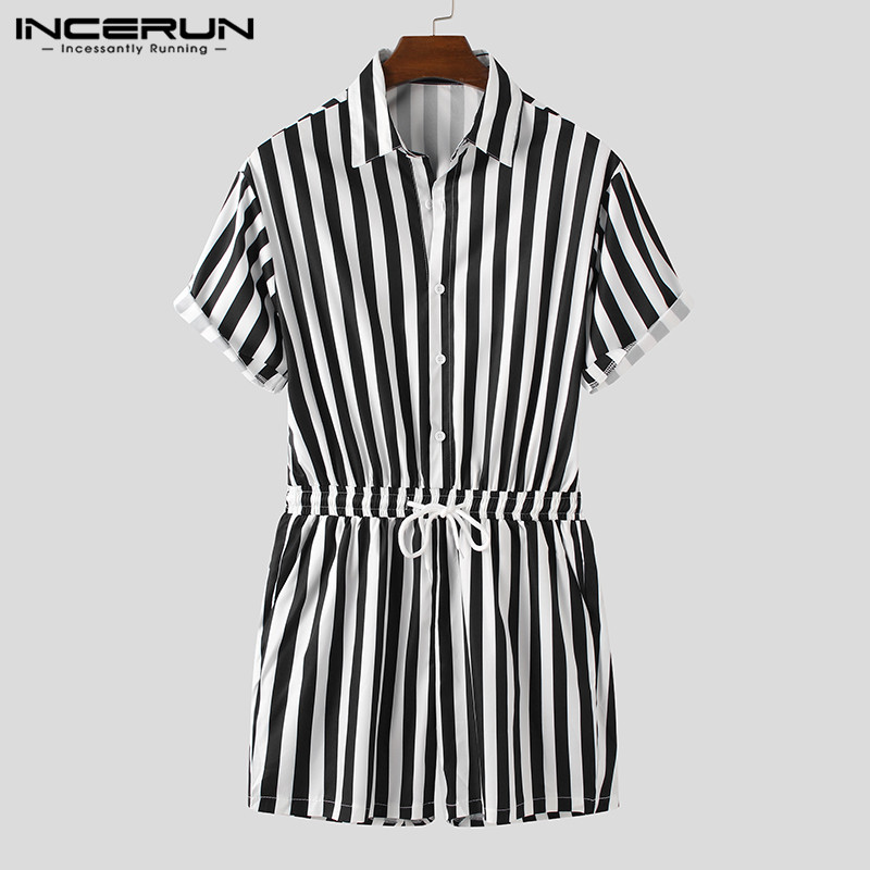 Fashion Men Rompers Striped Streetwear Short Sleeve Casual Shorts Lapel Jumpsuit Button Drawstring 2020 Men's Playsuit INCERUN