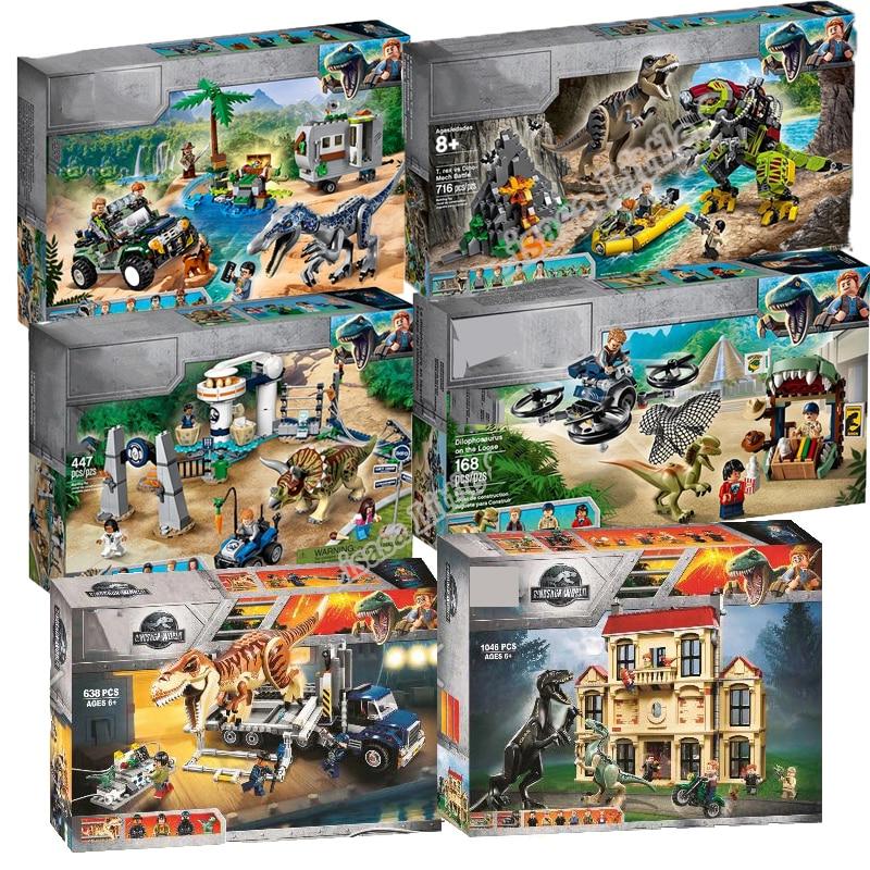 New Jurassic World Dinosaur Tyrannosaurus Rex T. Rex Transport Triceratop Building Block Bricks Toy For Children