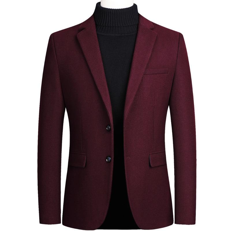 Mens Woolen Formal Wedding Tudexo Suit Jacket Men Business Casual Slim Wool Blazers Black Grey Red Veste Homme Plus Size 4XL
