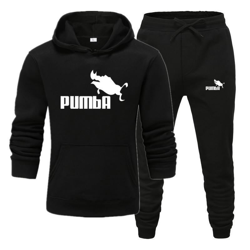 New Pumba Brand Tracksuit Men Thermal Men Sportswear Sets Fleece Thick Hoodie+Pants Sporting Suit Casual Sweatshirts Sport Suit