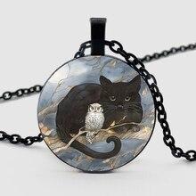 Little black cat, owl pattern pendant necklace designer design, fashionable men and women necklace gift divya srinivasan little owl s audiobook collection
