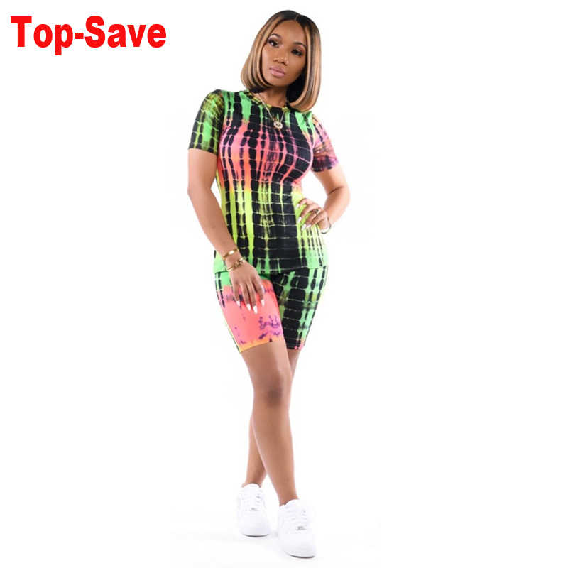 Casual Printed Sexy O Neck Crop Top And Biker Shorts Set Short Sleeve Skinny Matching Sets Autumn Fashion Women 2 Piece Outfits