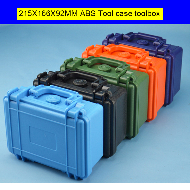 ABS Gereedschapskoffer gereedschapskist Slagvast afgedichte waterdichte cameratas met voorgesneden schuim, gratis verzending 215X166X92MM