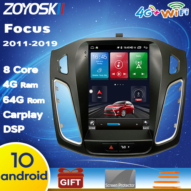 Android 9.0 10 OS 10.4 inch IPS vertical screen car gps multimedia radio bt <font><b>navigation</b></font> player for <font><b>ford</b></font> <font><b>focus</b></font> salon 2012-2018 image