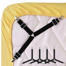 4 sztuk zestaw regulowane do łóżka blachy klipy pokrywa chwytaki uchwyt materac kołdra koc zapięcia pasy mocowania antypoślizgowy pas tanie tanio Other Dorosłych Płaski arkusz Stałe 4pcs