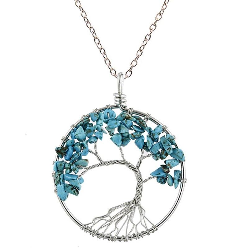 7 Чакра кварцевый и из натурального камня Древо жизни кулон ожерелье для женщин кристалл натуральный камень ожерелье s Подвески рейки ювелирные изделия - Окраска металла: BL